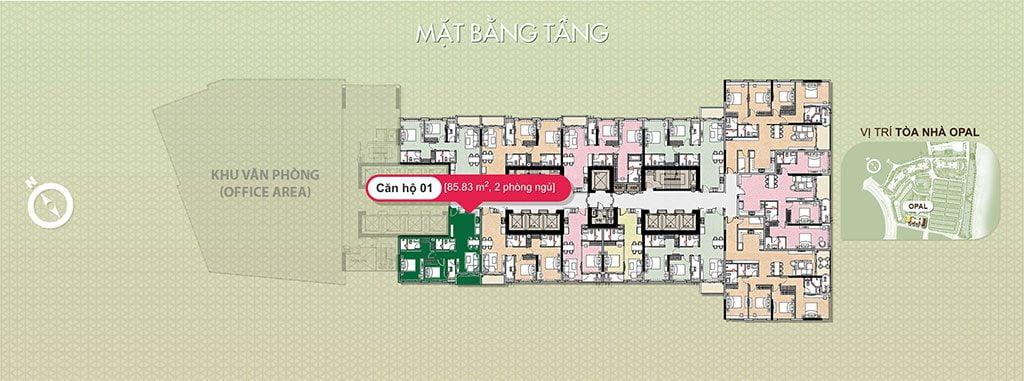 Bán căn hộ Saigon Pearl Opal 2 PN