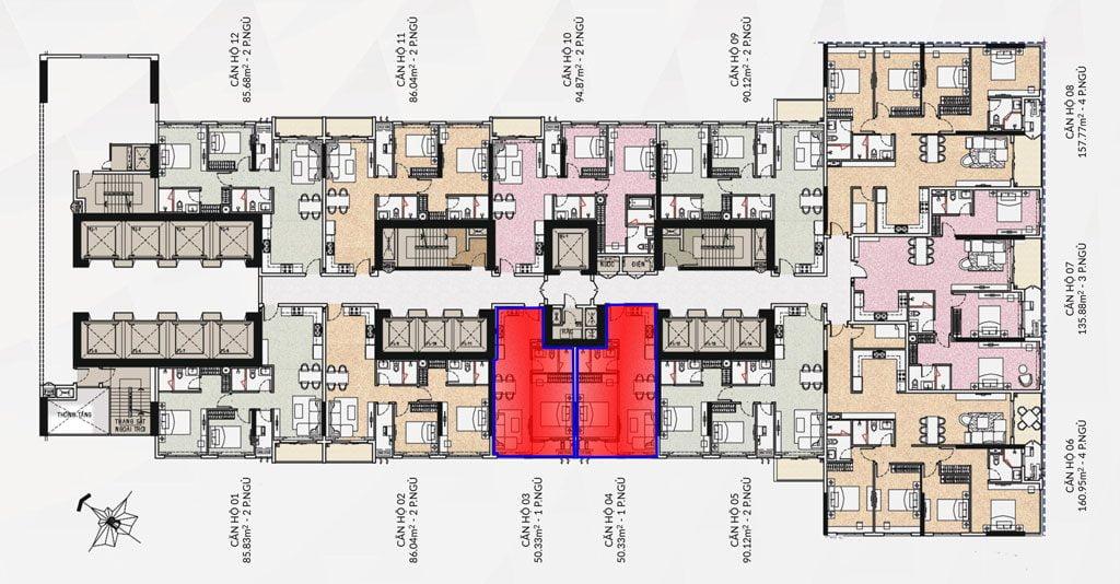 Mặt bằng căn hộ Saigon Pearl 1 phòng ngủ cho thuê với diện tích 50m2