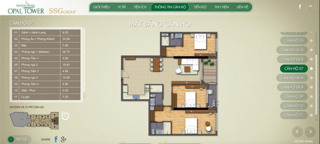 Mặt bằng mới nhất của căn hộ Opal Saigon Pearl 3 phòng ngủ