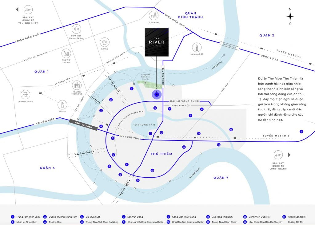 Bản đồ miêu tả các dịch vụ tiện ích trong và bên ngoài dự án