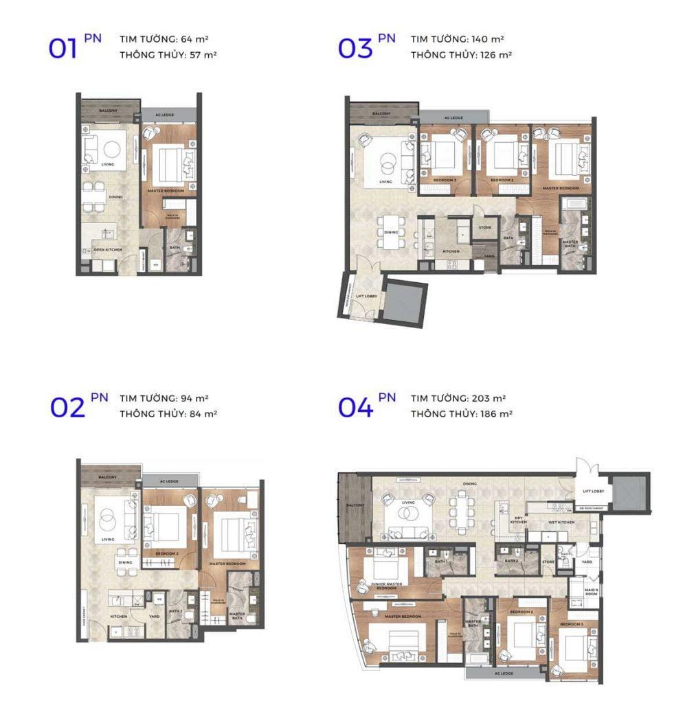 Mặt bằng thiết kế 4 loại căn hộ tiêu chuẩn của dự án The River Thủ Thiêm